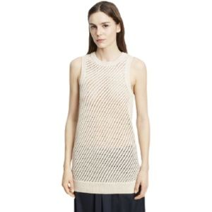 Vince Sleeveless Mesh-Stitched Top Cream XS
